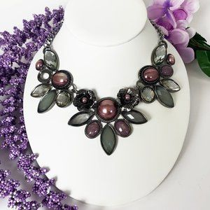 Purple and olive green statement necklace flowers
